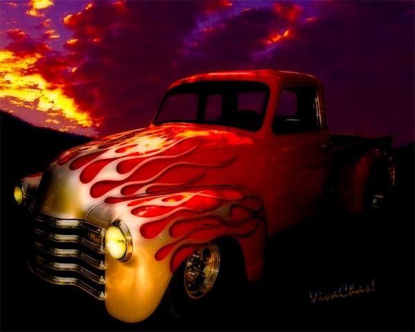 Flaming Chevy Pickup