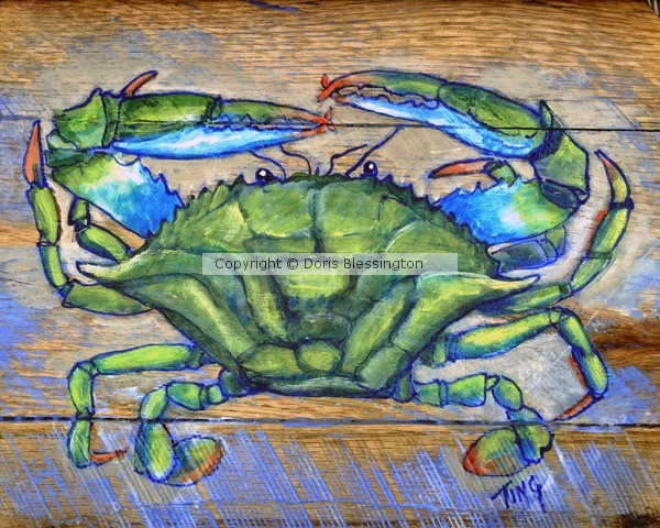 Green Crab on Wood