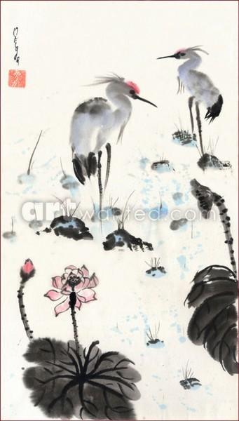 Two herons in a lotus pond.