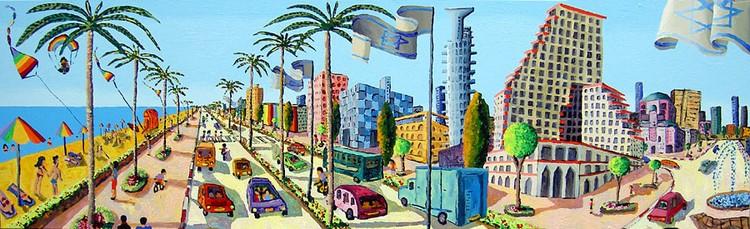 naive urban landscape paintings naife artist painter raphael perez folk artworks painting