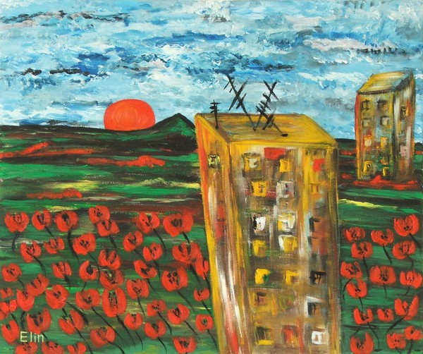 Urban landscape with poppies