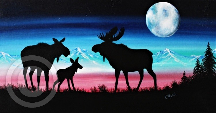 Moose Family silhouette