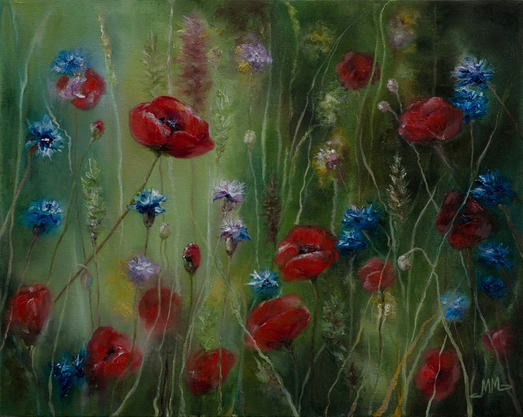 Poppies and Cornflowers in the Grass