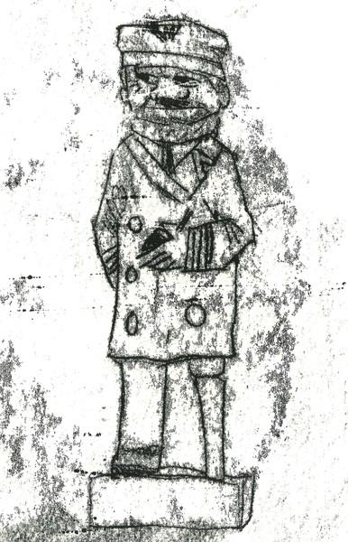 Monoprint: 'Sea Captain' carved wooden figure