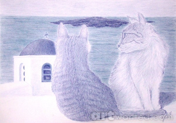 Kitties in Santorini