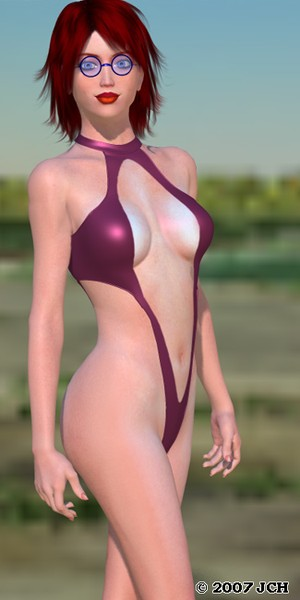 Tabby 2 Purple Swimsuit