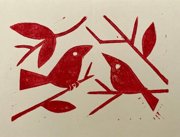 Birds and lemon tree