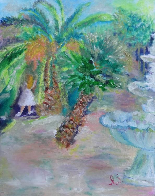 Under big palm tree