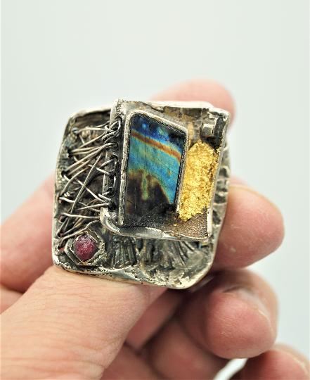 Spectrolite Art ring  by modernart999 Canada