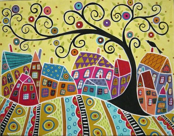 Bird Ten Houses And A Swirl Tree