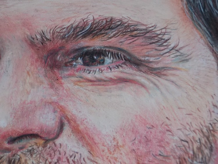 Closeup of eye/face in colored pencil