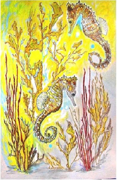 pastel painting seahorses.