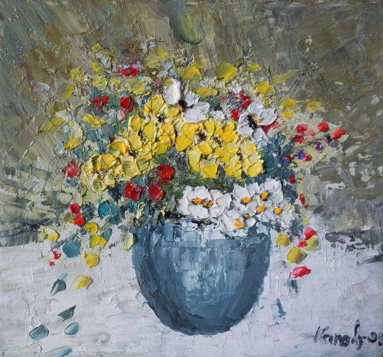 Bowl with white and yellow flowers-sold