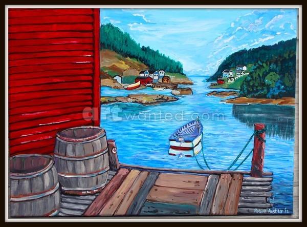 Cozy Fishing Village - 14 x 11  SOLD