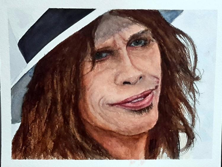 Quick Watercolor sketch of Steven Tyler