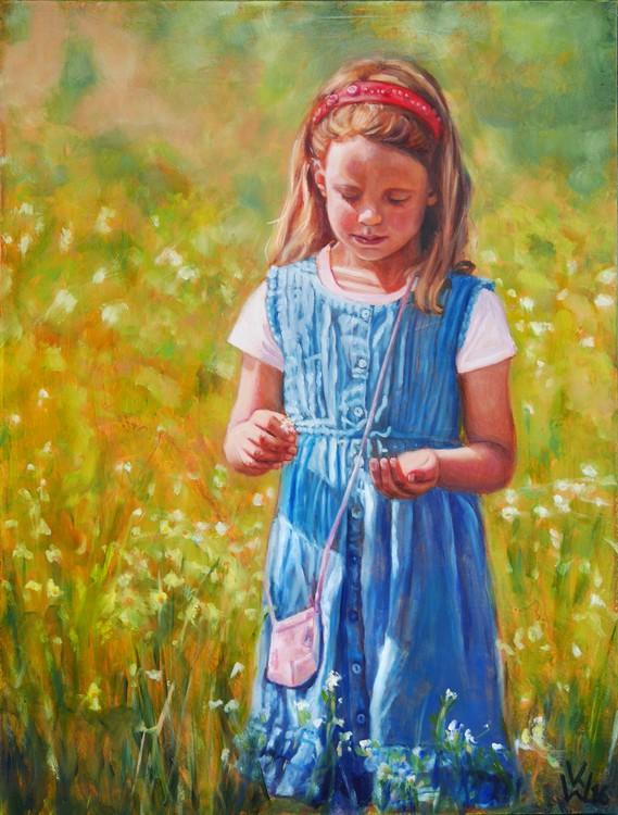 girl picking flowers (Mädchen auf Blumenwiese)