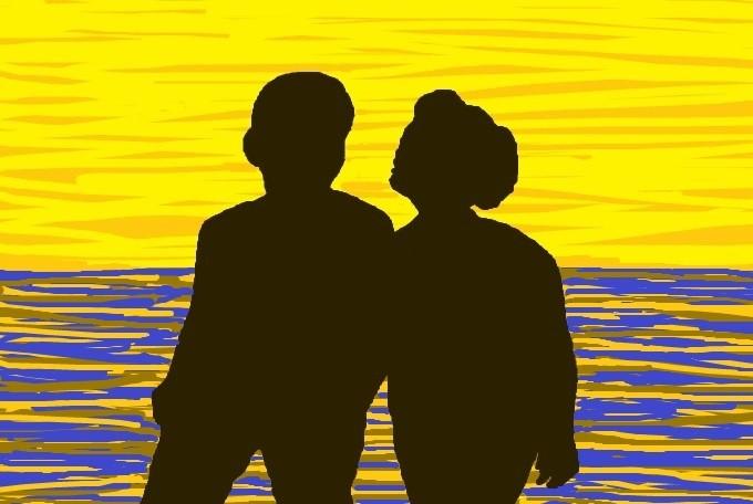 Couple  Beach Walk At Sunrise