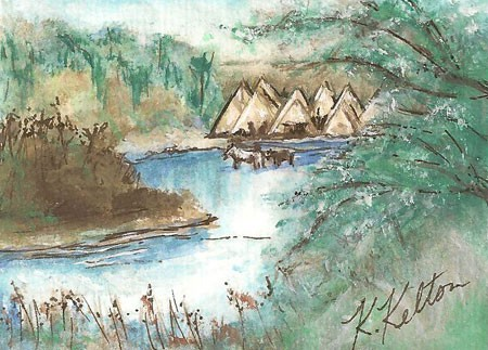 Indian Village ACEO