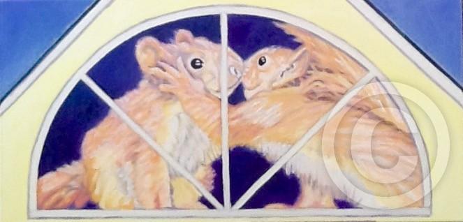 Squirrels kissing in attic window