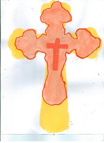 Orange cross laying on yellow