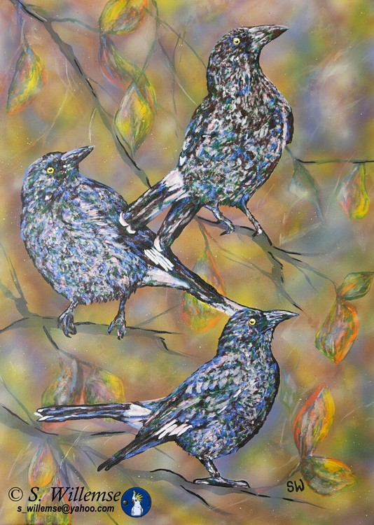 Curawongs and autumn leaves Art Australian Birds Susan Willemse