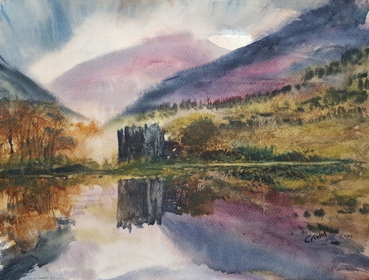 Dunderave Castle, Loch Fyne Watercolour Painting by Steven Cronin