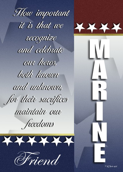 Red, White and Blue Marine Troop Support Card
