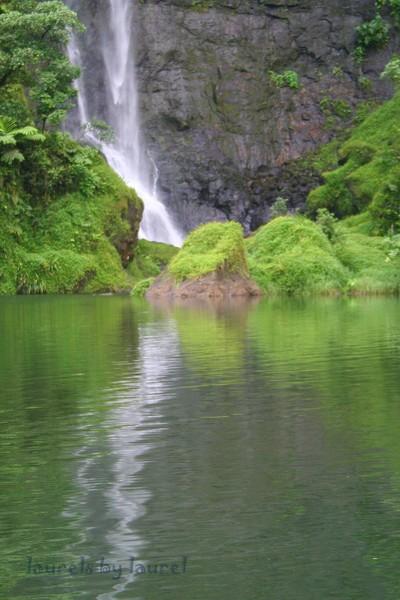 Waterfall Reflection in Tahiti