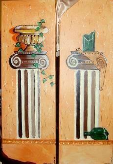 Säulen: Flasche, Efeu