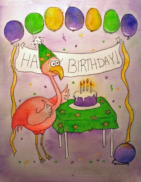 Flamingo:  Happy Birthday