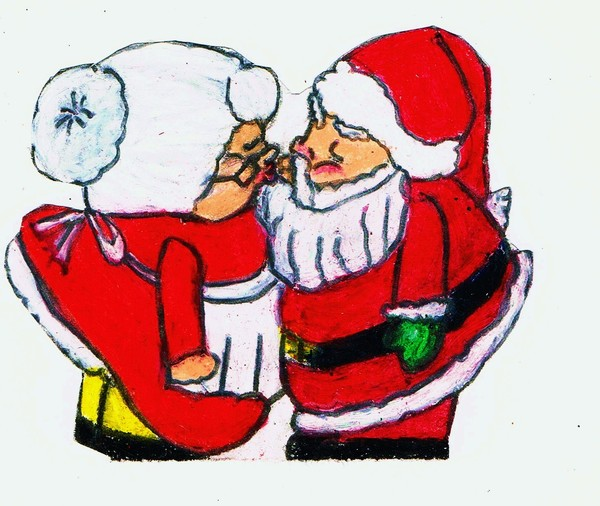 MR. AND MRS. SANTA CLAUSE HOLIDAY KISS