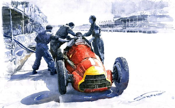 Pit Stop Alfa Romeo158 British GP 1950 J M Fangio