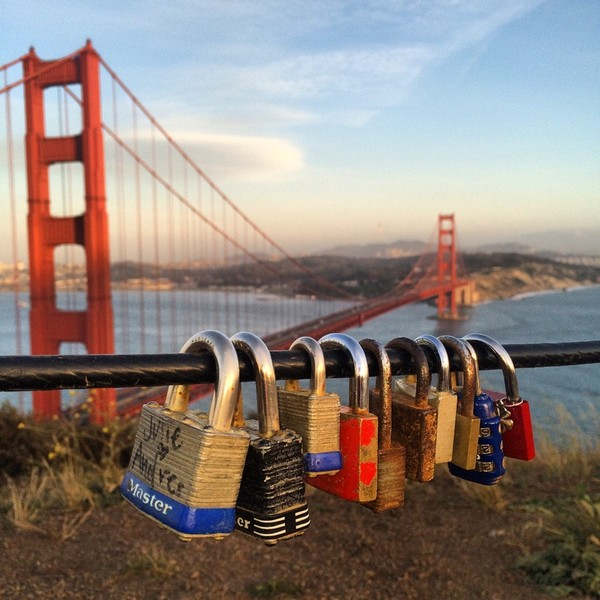 San Francisco Love locks seen fortifying the GGB