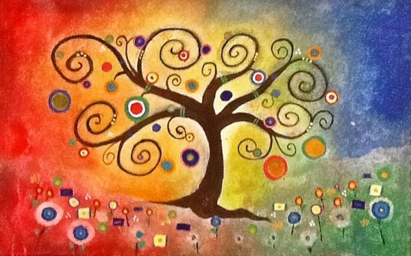 Rainbow Tree of Life Gustov Klimt Inspired