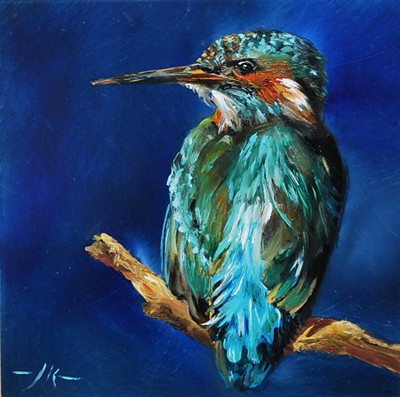 oilpainting Kingfisher on aluminium