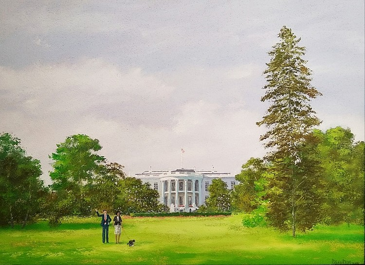 PRESIDENT ON LEISURE WALK WITH BO