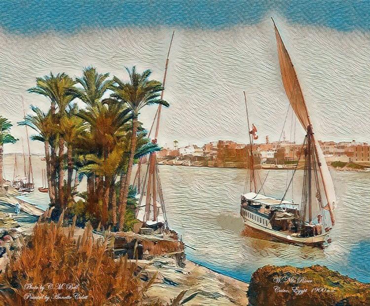 w NileRriver, Egypt Digital Landscape painting