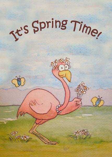 Flamingo Line Whimsical Happy Spring Bird