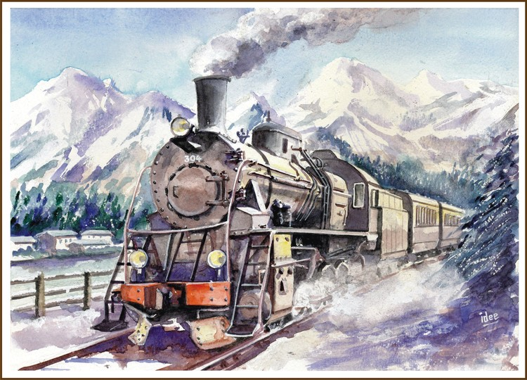 Steaming through the wintry valley