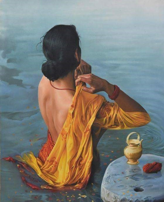 Woman Bath in River