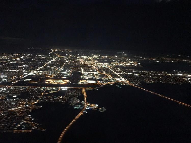 Tampa Bay at Night from Sky
