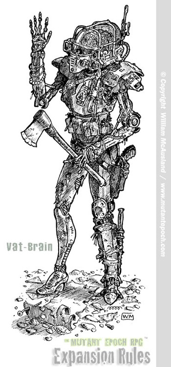 Vat-Brain with female android leg, and axe
