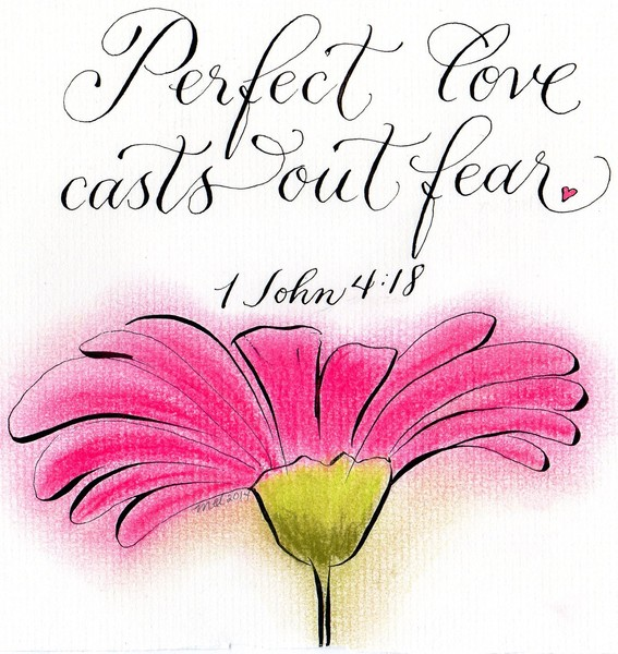 Inspirational Love verse with a hot pink daisy