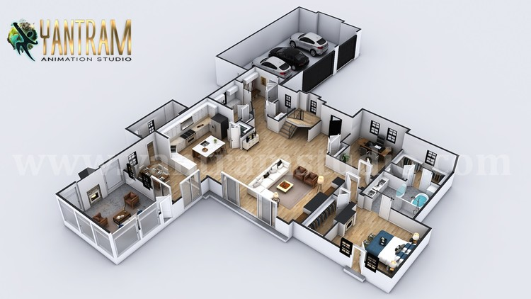 4-bedroom Simple Modern Residential 3D Floor Plan House Design by Architectural Rendering Company,