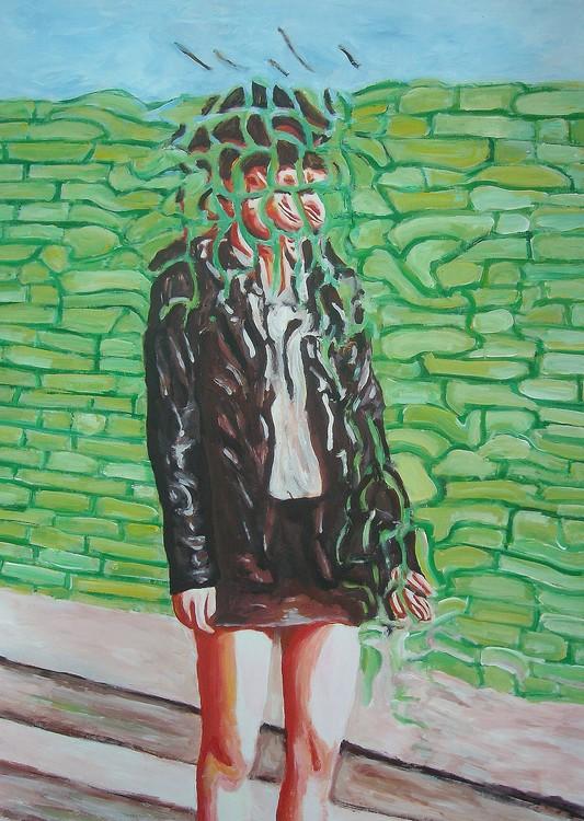 Ragazza su muro verde (girl on green wall)