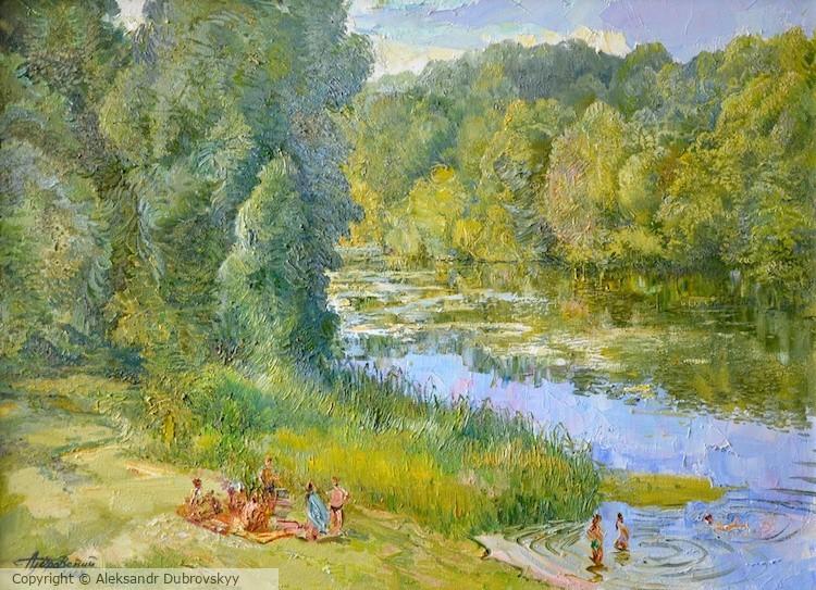 Riverside - beautiful summer landscape in calm green shades