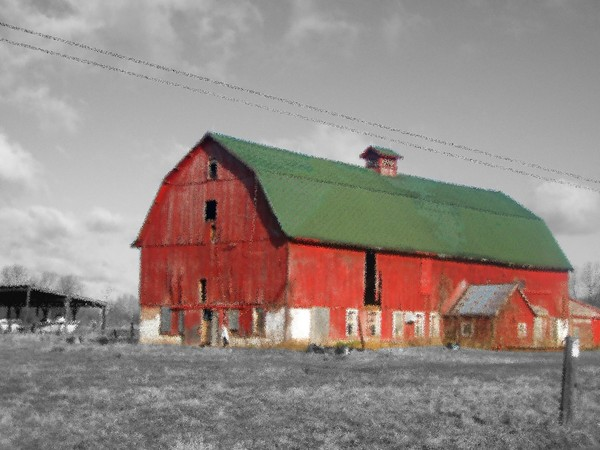 Red Barn,Black and White Background