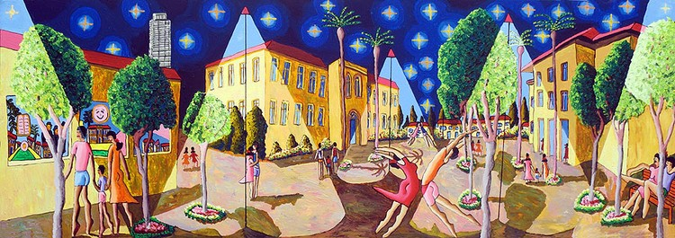 naive art paintings urban landscape paintings folk primitive artist painter raphael perez