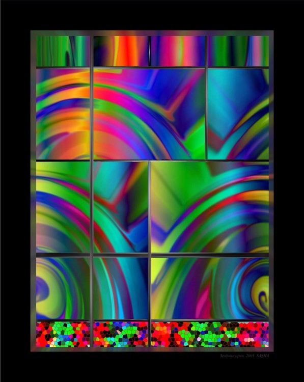 Green Arches. Stained-glass