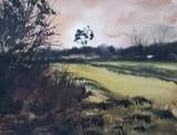 Nr Moat Farm, Sutton Road Watercolour Painting by Steven Cronin